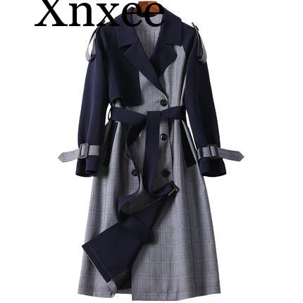 Xnxee 2019 Spring Women   Trench   coat Classic Double Breasted Belt Vintage Plaid Long   Trench   Business Outerwear