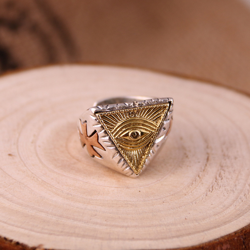 S925 genuine sterling silver ring men female silver retro triangle eye of God food ring fashion personality style цена