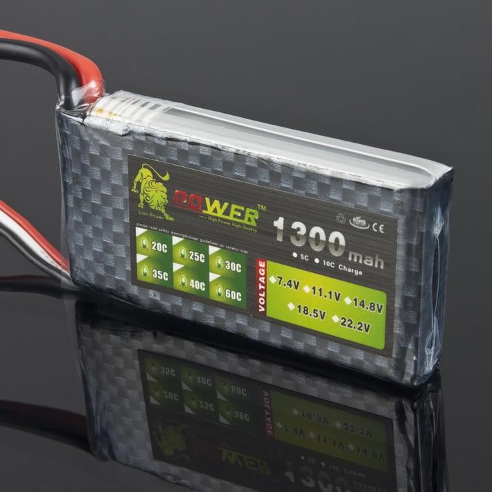 1 pcs Lion Puissance Lipo Batterie 7.4 V 1300 MAH 25C MAX 35C dans T Plug pour RC Voiture Bateau avion Hélicoptère