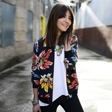 Fashion Ethnic Style Floral Print Women Jacket Autumn New Stand Collar Long Sleeve Thin Jacket Women Casual Chaquetas Mujer