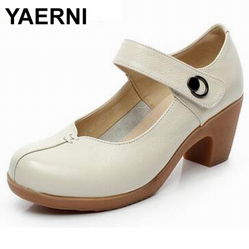 YAERNI Spring Autumn Shoes Woman 100 Genuine Leather Women Pumps Lady Leather Round Toe Platform Shallow