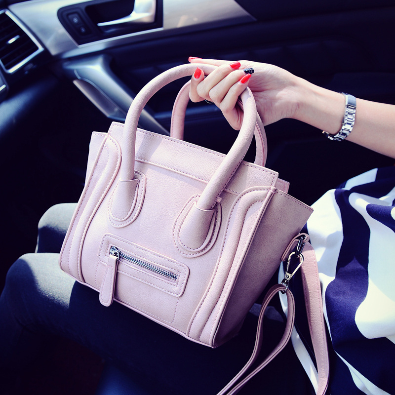 Fashion portable cute bag Small solid color casual vintage women's handbag leisure style girl shoulder bag new