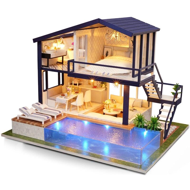 Open Air Pool Apartment Dollhouse Miniature Furniture Kits DIY Wooden Dolls House LED Lights Music Box Children Birthday Gift
