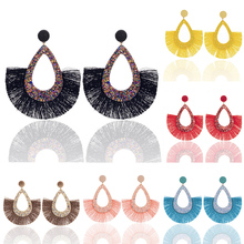 High Quality Bohemian Style 1Pair Unique Sequins Colours Long Exquesite Candy Color Drop Earring Water Tassel Hollow Out