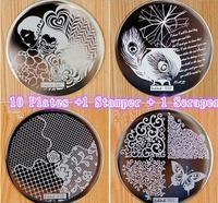 10 Platen + 1 Stamper 1 Schraper 60 Ontwerpen Optionele voor Kiezen Nagel Art Afbeelding Konad Print Stempel Stempelen Manicure Template