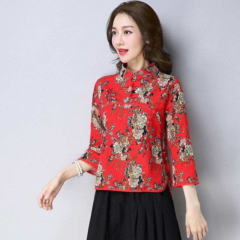 Fleur Col Plus Tang Vintage Mandarin Améliorée Rouge 4xl Femmes Top Bleu Coton Imprimer Traditionnelle marine Lin Blouse Chemise 3xl Taille Chinoise nq4PzSwt8z
