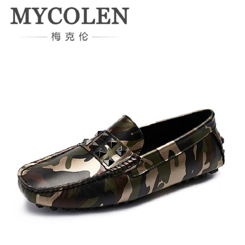 MYCOLEN Camouflage Genuine Leather Men Shoes Luxury Brand Loafers Italian Mens Shoes Men Casual Black Slip On Moccasins Flats branded men s penny loafes casual men s full grain leather emboss crocodile boat shoes slip on breathable moccasin driving shoes