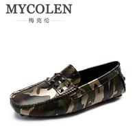 MYCOLEN Camouflage Genuine Leather Men Shoes Luxury Brand Loafers Italian Mens Shoes Men Casual Black Slip