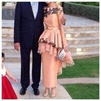 2014 арабском дизайн линия с плеча аппликация чай , вечерние платья