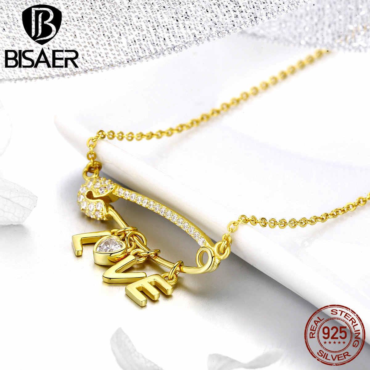 BISAER 100% 925 пробы серебряный воротник романтический любовный с буквами Подвески Золотой Цвет Любовь Ожерелья для женщин Роскошные ювелирные изделия ECN324