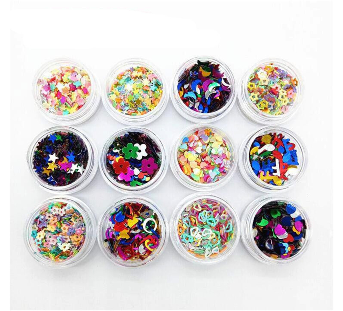 12pcs Sequins Stars Hearts Moon Metallic Nail Body Art Glitter Nails Paillette Flakes Decor Makeup Accessories Diy Craft Tools in Nail Glitter from Beauty Health