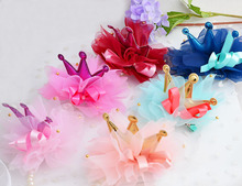 2 PIECES Crown Hairpin Headwear Accessories For Girl Princess Hair Clips Beautiful Chiffon Flower Barrettes Headdress