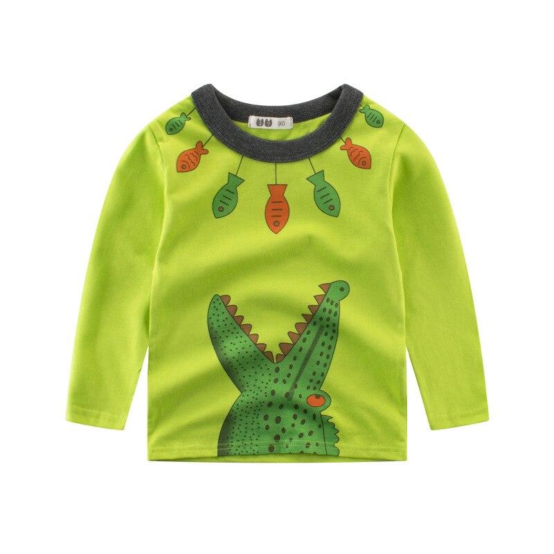2018 Новинка весны для маленьких мальчиков милые футболки с мультяшным крокодилом узор с длинным рукавом Прекрасный футболка для мальчиков П...