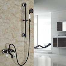 Good Quality Dual Handle Wall Mount Shower Faucet Set with Handheld Shower Sliding Bar Adjust Height