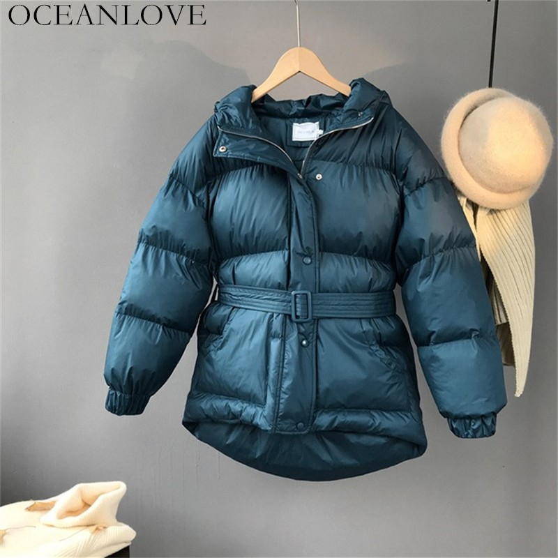 OCEANLOVE Three Color Solid Women Parkas Hooded Zipper Single Breasted Coat Winter Thick Korean Fashion Sashes