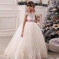 Vestidos de Niña Para La Boda de Encaje Granos de Los Appliques Puffy Niñas Pageant Vestidos Hollow Lace Up Bow Sash Vestidos de Cumpleaños