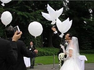 Wholesale 10pcs Flying White Dove Balloons Wedding Globos Balao Dove Balloons Peace Bird Ball Pigeons Peace Dove Foil Balloons(China)