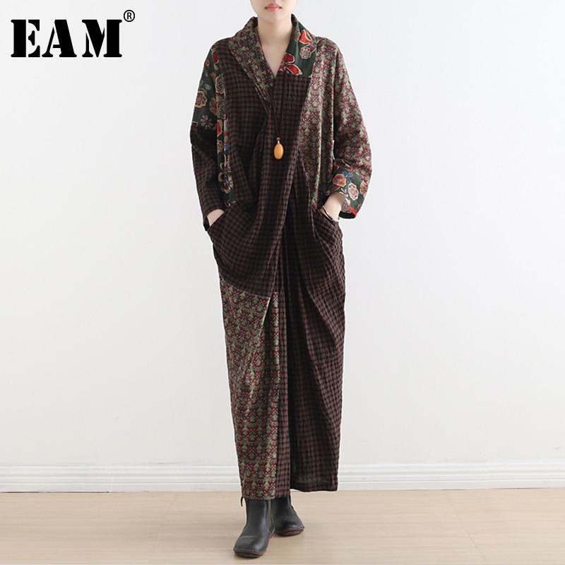 [EAM] 2019 nouveau printemps été col en v à manches longues Plaid imprimé point lâche grande taille irrégulière robe femmes mode marée JT897