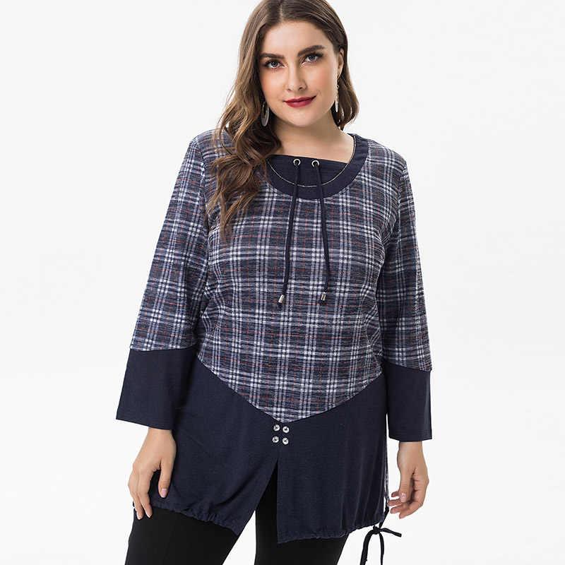 Miaoke 2019 春の女性の大サイズ elegantes 女性 tシャツレディース服のファッションプラスサイズのチェック柄コットントップスとブラウス