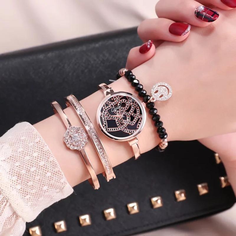 Cacaxi nouveau luxe femmes montres en or Rose bijoux Bracelet montre-Bracelet femmes robe populaire montre ensemble 4 pc Ulzzang Relogio Feminino