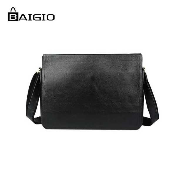 a39c49023f Baigio Men s Vintage Black Casual Genuine Leather Messenger Best Brand  Designer Crossbody Handmade Bags Messenger Satchel Bags