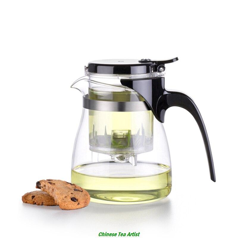 Squisito Vetro Resistente Al Calore Tea pot con Built-In Infusore per il Tè Sfuso e Caffè 600 ml, Ufficio Tea Conveniente Pot