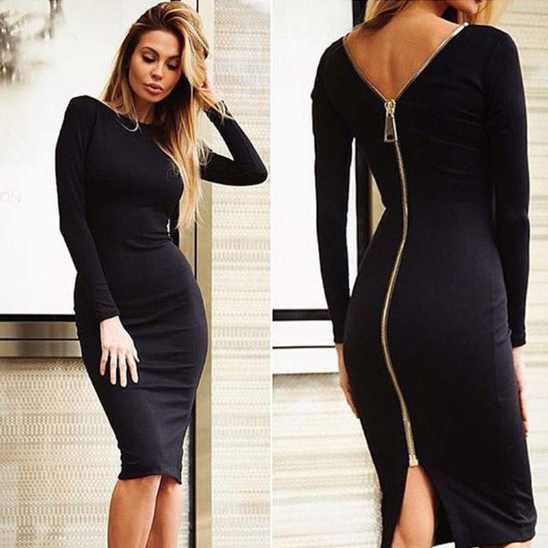 Black dress zip back quarter
