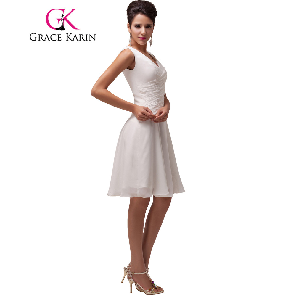Grace Karin Cocktail Dress Chiffon Short V Neck Pleated White Knee ...