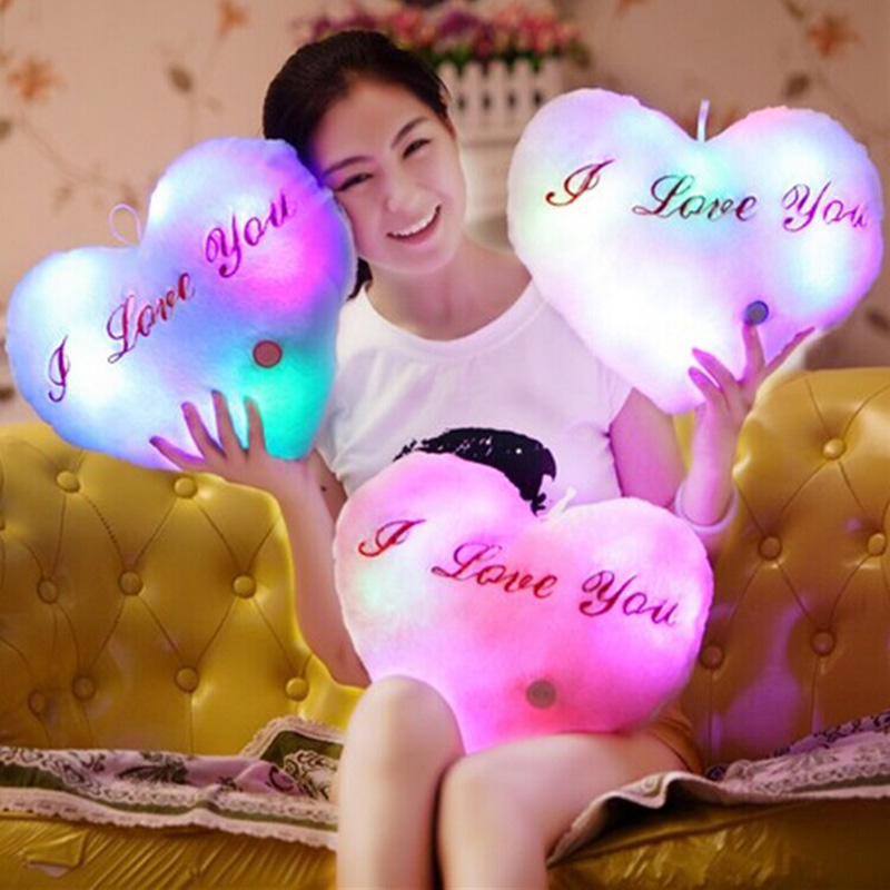 Love Throw Pillows Heart-Shaped LED Luminous Light Soft Plush Pillow Cushion Doll Toys Party Birthday Gift For Lover Friend soft u shape cushion journey from watermelon kiwifruit orange fruit cushions tourism neck pillow autotravel pillows new hot