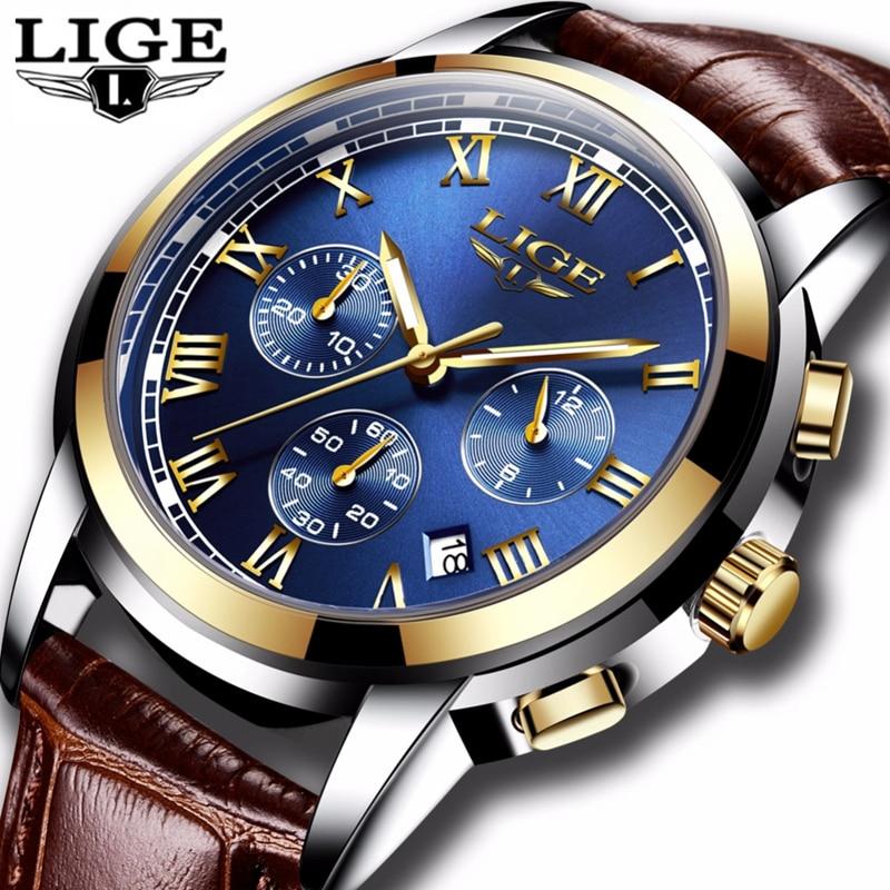 2018 nuevos relojes para hombre de marca de lujo LIGE cronógrafo relojes deportivos para hombre reloj analógico de cuarzo de cuero resistente al agua reloj Masculino