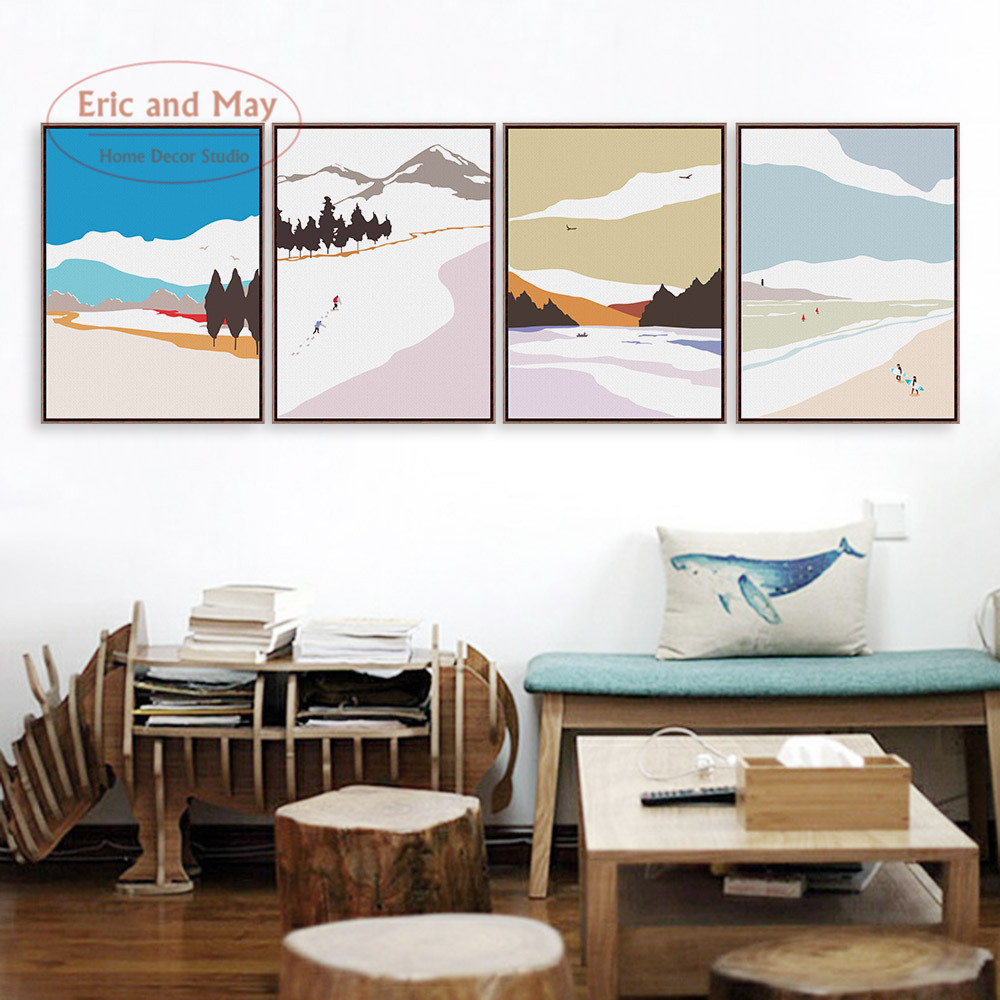 montaa de nieve de paisaje canvas art print poster pared pictures for living room decoration