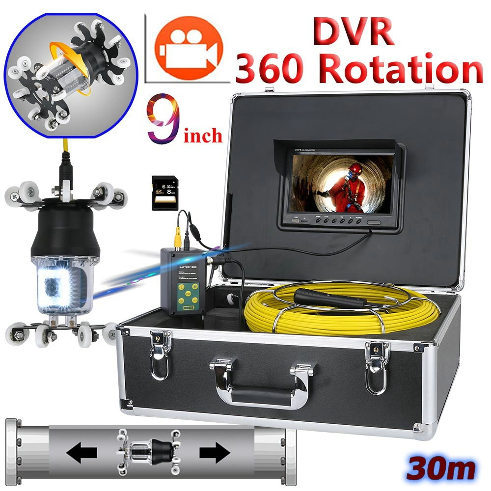 GAMWATER 9 inch DVR Recorder Pipe Inspection Video Camera Endoscope support IP68 38 LEDs 360 Degree Rotating Camera 30M 50M