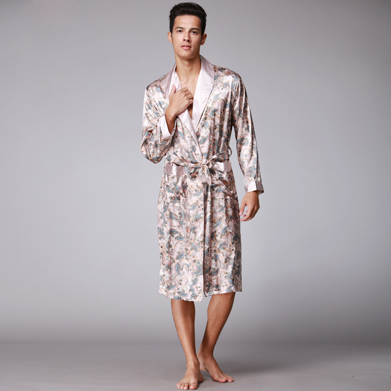 Chinese Men Satin Bathrobe Robe Long Sleeve Pajamas Vintage Print Nightgown Sleepwear New Novlety Kimono Bath Gown Nightgown