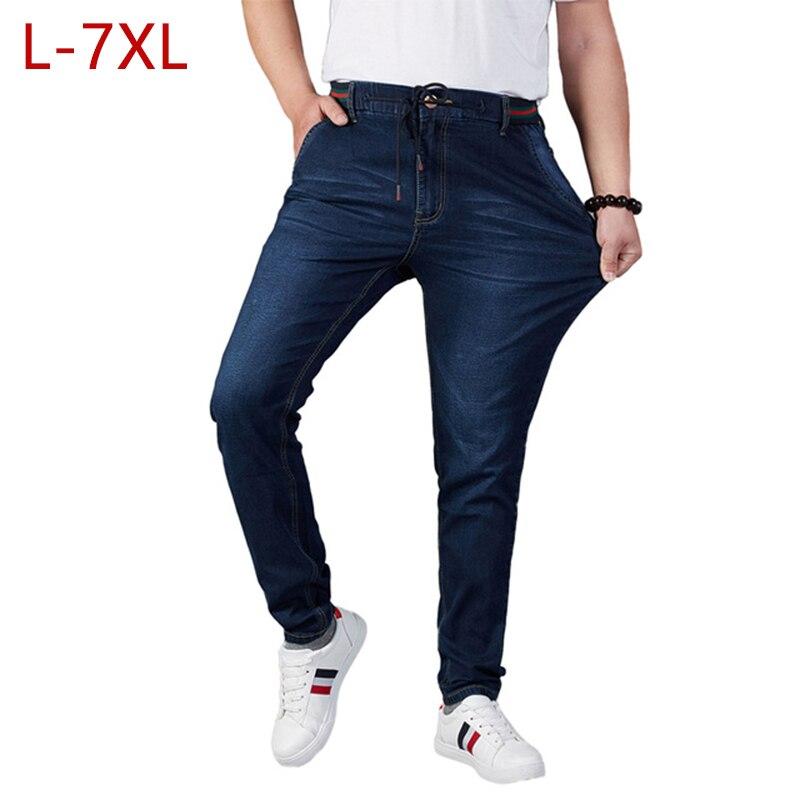 L-7XL grande taille été élastique bande mâle Jeans mode mince haute Stretch hommes Denim salopette noir Skinny marque Jeans pour hommes