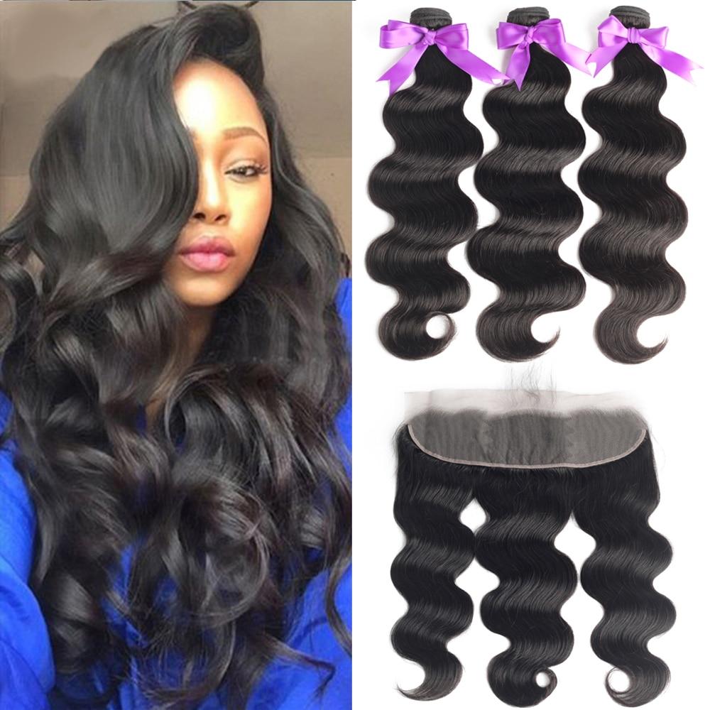 BEAUDIVA Hair 3 Bundles With Frontal Peruvian Human Hair Weave Bundles With Closure Body Wave Bundles