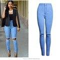 Бесплатная доставка 2016 новая мода джинсы рваные отверстия брюки ноги женские полная длина высокая талия брюки промывают джинсы