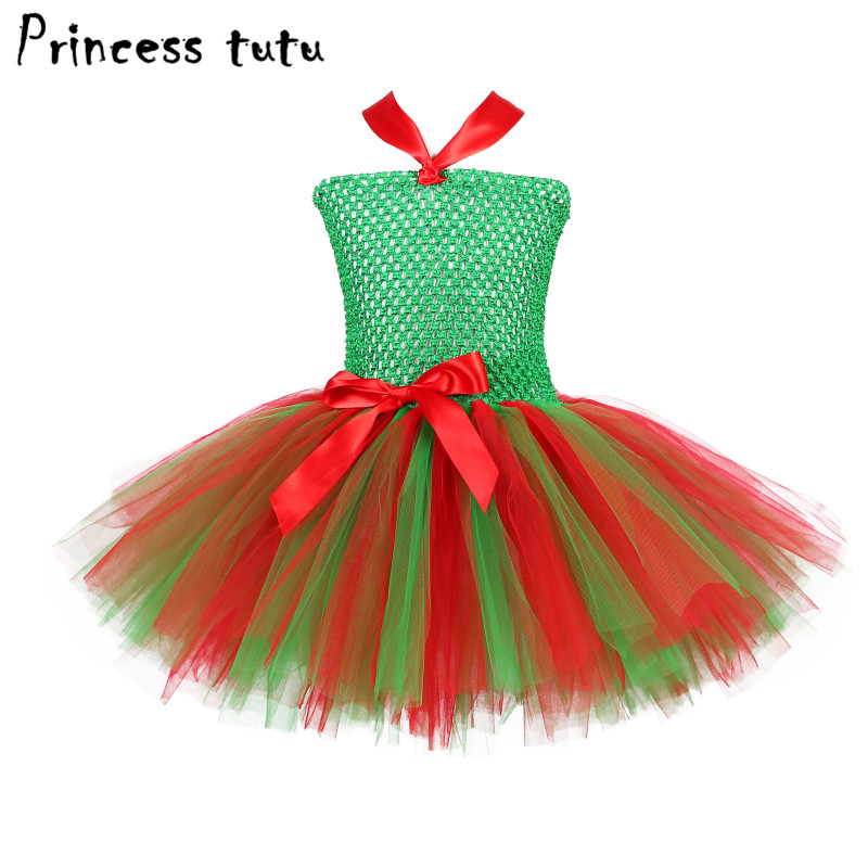 New Arrival Girl Christmas Dress Green Red Bow Ribbons