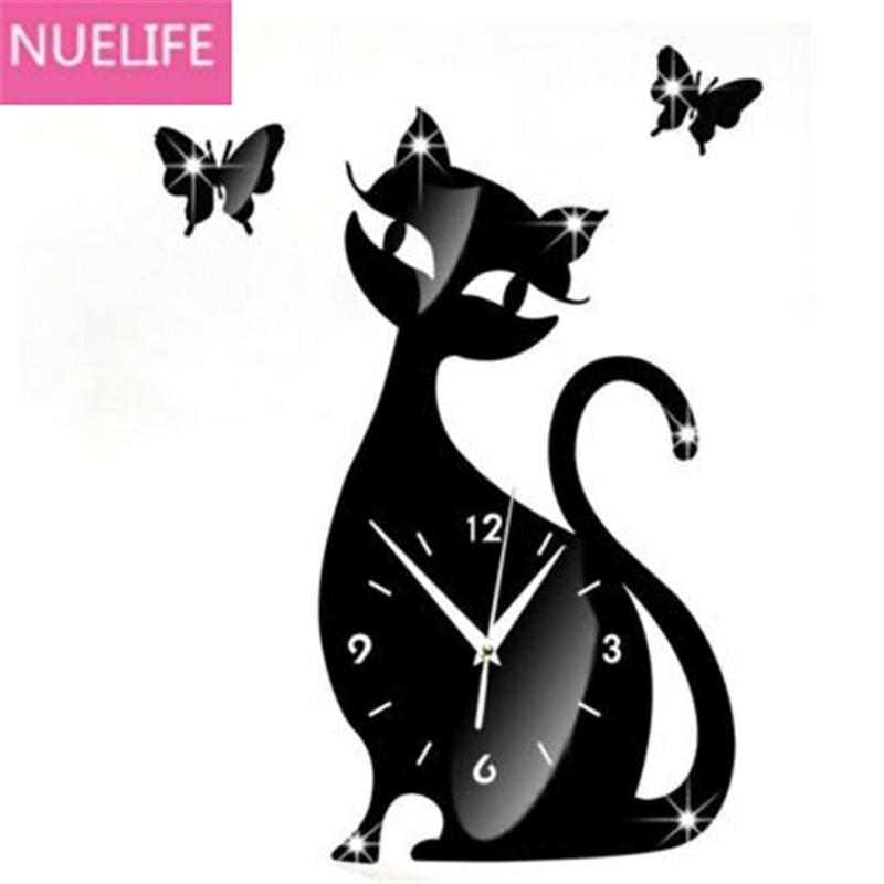 40x35 cm mignon dessin animé chat design miroir horloge stickers muraux enfants chambre salon horloge silencieuse mur dessin animé horloge N1