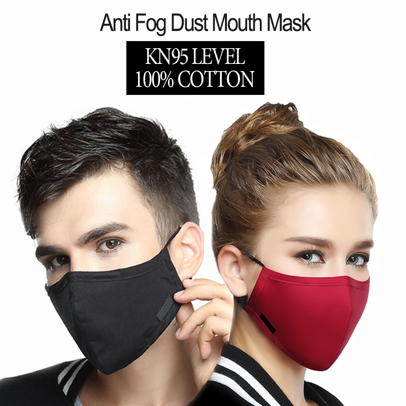 Pure Cotton Reusable Anti Fog Dust Mouth Mask Health Care Man Women Windproof Mouth-Muffle Virus Proof Flu Face Mask Black Red image