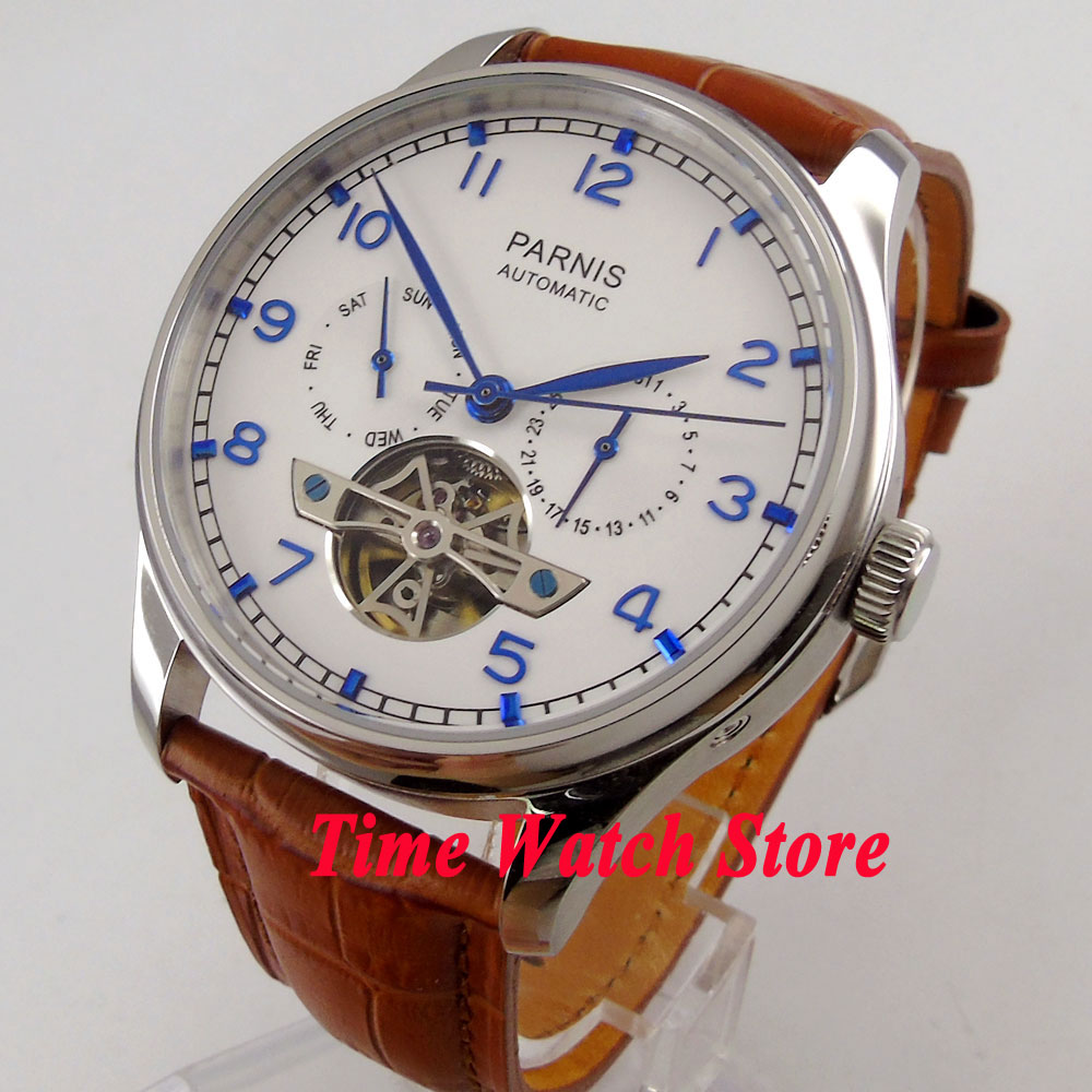 Parnis watch 43mm White dial date Automatic Self-Winding movement Mens watch men 902 relogio masculinoParnis watch 43mm White dial date Automatic Self-Winding movement Mens watch men 902 relogio masculino