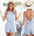 2017 Sleeveless Summer Style Casual Beach Rompers Women Jumpsuit Ladies Sexy Vertical Stripe Backless Cutaway Rompers Clothing