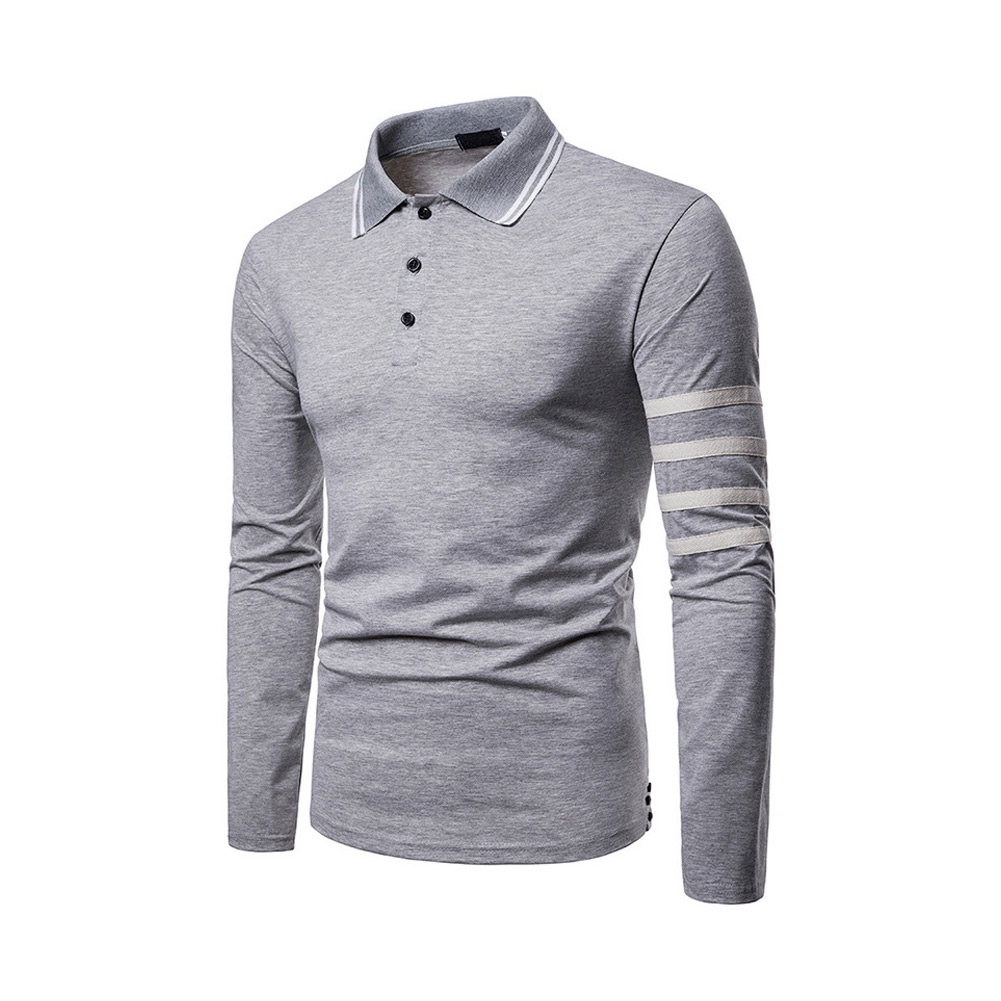 2019 Men Spring Long Sleeves   Polo   shirt Turn-down Collar Slim Fit Patchwork Pullover Tops BS88