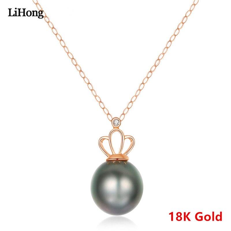 Véritable collier en or 18 K pendentif perle de tahiti naturelle 8-9 MM chaîne clavicule femme AU750 N18015