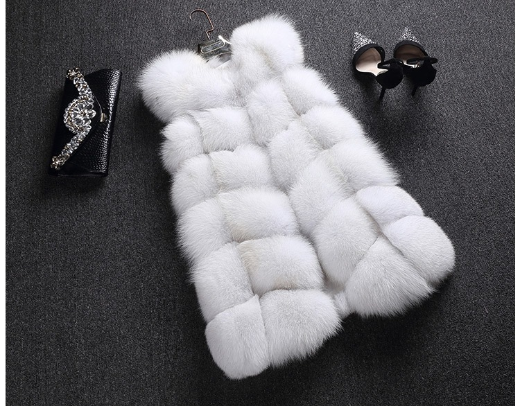LIYAFUR Women's 100% Real Genuine Full Pelt Skin Luxury Fox Fur Long Vest Waistcoat Gilet Fashion