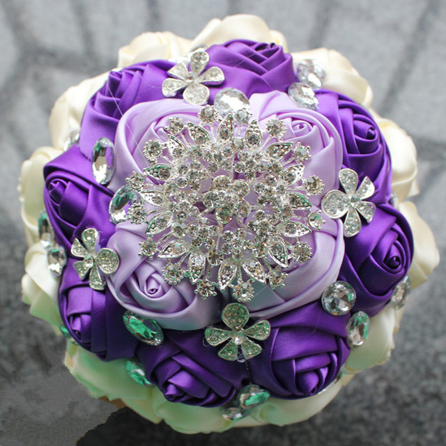 Purple Ivory Ribbon Rose Diamond Brooch Wedding Bouquet Crystal ...