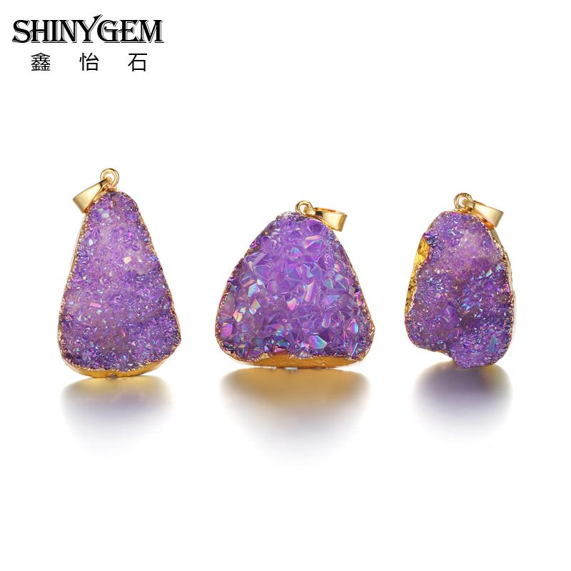 ShinyGem Natural Druzy Crystal Pendant Gold Edge Irregular Crystal - Bisutería - foto 4