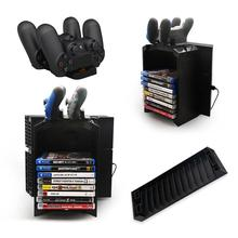 Multifunctional Gaming Movie Disks Storage Tower Dual Game Controller Stand Charging Dock Station For PS4 for playstation 4