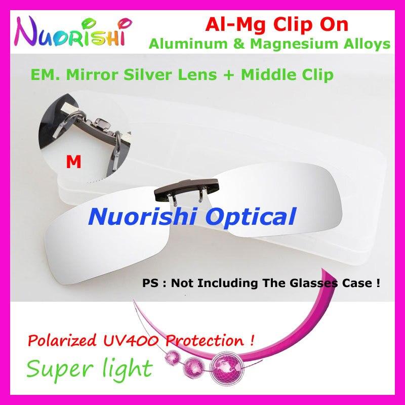 10 шт. сплава al-mg поляризованные Очки очков 7 цветов UV400 линзы клип на для малого и среднего Размеры зажимы cp07 - Цвет линз: EM Mirror Silver