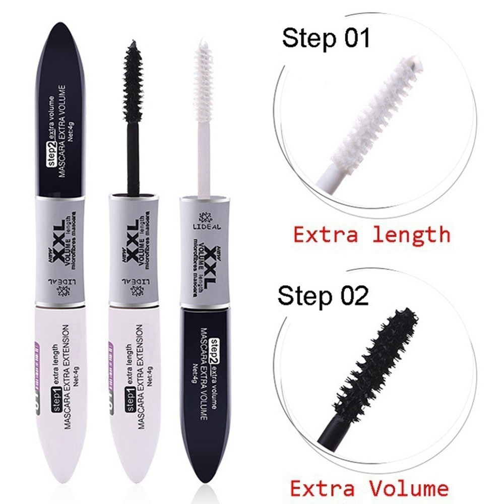 US $2 3 34% OFF|2 in 1 4d Fiber Lash Mascara Black Waterproof Volume  Lengthening Thick Curling Eyelashes Extension Double Head Makeup Mascara-in