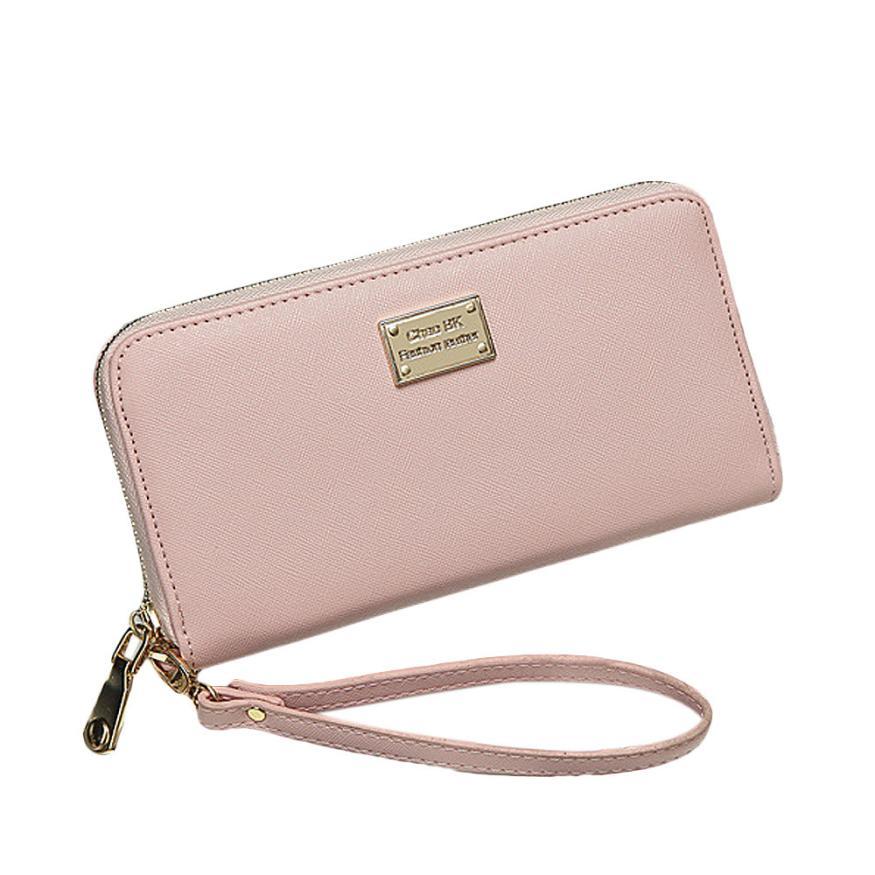 Women Purse Day Clutch Wallet Small Bag Lady Purse Card Holder PU Leather Zipper Phone Pocket Black Green Pink Drop Ship #T